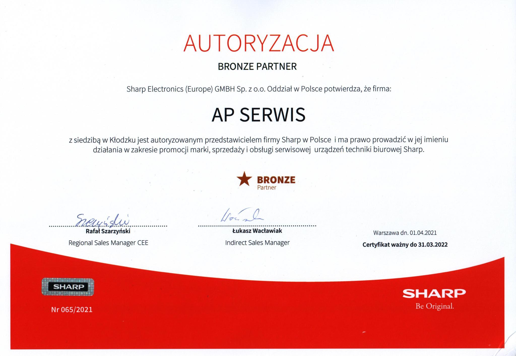 AP-SERWIS - autoryzowany przedstawiciel firmy Sharp w Polsce